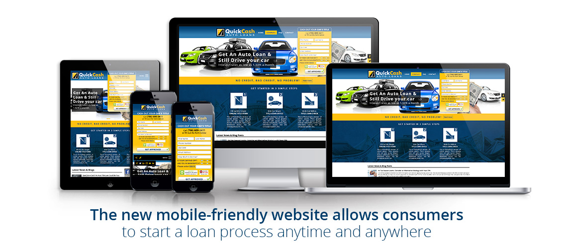 Different Devices Showing a Responsive Auto Title Loan Company's Website