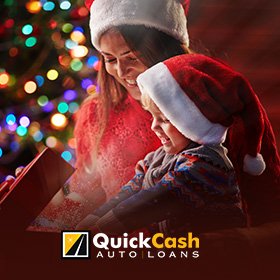 Picture of a Mother Giving Her Child a Gift With Money She Received from an Auto Title Loan in Miami